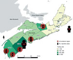 Thumbnail of Reported cases of Lyme disease (LD) for 2002–2013, by endemic region of exposure and LD testing rates by District Health Authority for 2013, Nova Scotia, Canada. Of the 22 cases without a known link to an LD-endemic area in Nova Scotia, 17 persons were infected outside the province (Europe and the United States); for 5 persons, location of exposure was either unknown or outside of known LD-endemic regions. Testing rate is per 100,000 population.