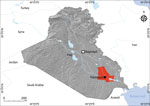 Study site (red) in Dhi Qar Governorate, Nasiriyah region, Iraq, from where serum and cerebrospinal fluid samples were collected from persons in rural and urban areas and screened for lymphocytic choriomeningitis virus.